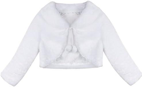 cf67457bdcf2a FEESHOW Girls Faux Fur Bolero Flower Dress Wedding Bridesmaid Shrug Jacket  Coat