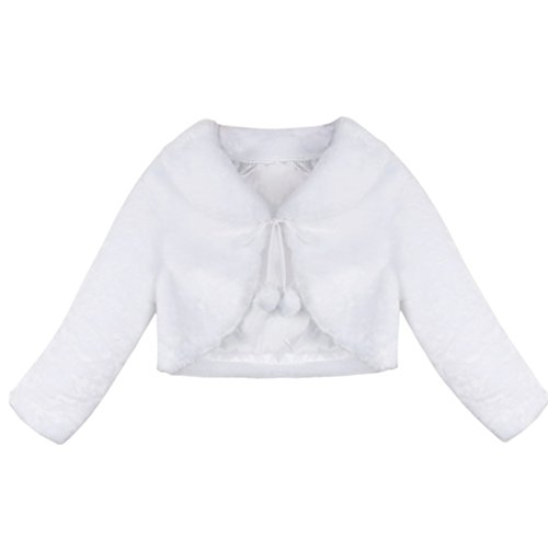 Baby Shrug - FEESHOW Girls Faux Fur Bolero Flower Dress Wedding Bridesmaid Shrug Jacket Coat White 3/4