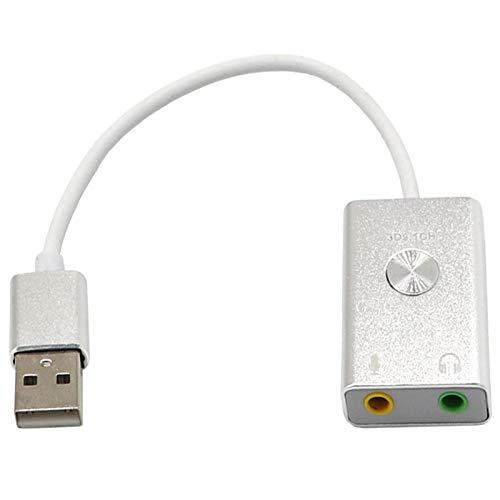 Nrpfell Adaptateur Son USB Virtuel 9.1 avec Port USB pour Ordinateur De Bureau Ou Portable Blanc