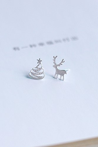 Generic 925 sterling silver five-pointed star Korean star sweet Christmas tree deer earrings cute earrings simple Beautiful women girls lady