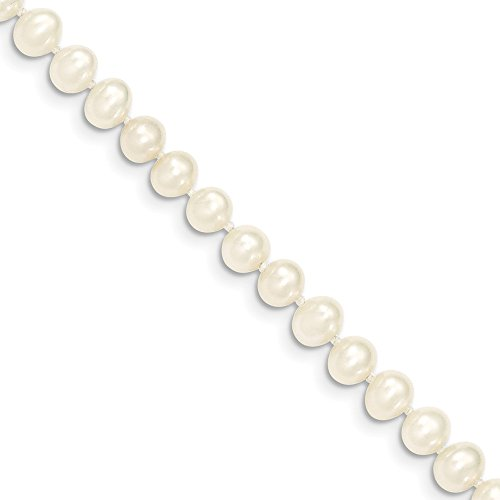 (14k Yellow Gold 6mm White Near Round Freshwater Cultured Pearl Chain Necklace Pendant Charm Fine Jewelry Gifts For Women For Her)