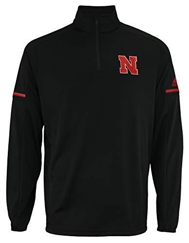 (adidas Men's NCAA Team Logo 1/4 Zip Pullover, Nebraska Cornhuskers-Black Large)