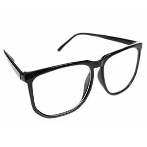 Unisex Men Women Fashion Oversized Retro Tortoise Shell Clear Lens Plain Glasses (Black)