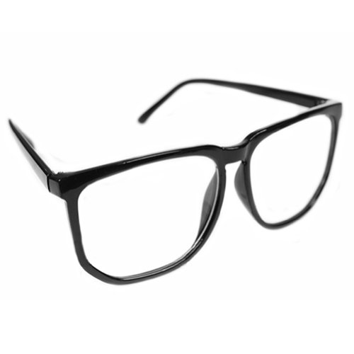 Unisex Men Women Fashion Oversized Retro Tortoise Shell Clear Lens Plain Glasses - Plain Glasses Black