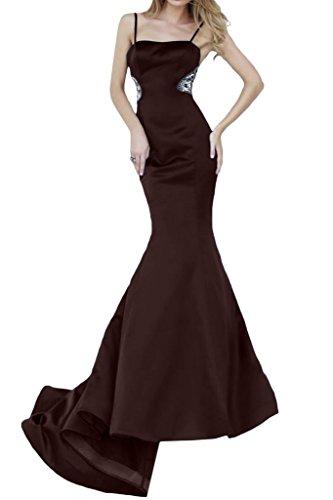 Lang Promkleid Damen Satin Spaghetti Mermaid Braun Ivydressing Festkleider Abendkleid Pt7WAO