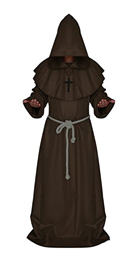 H&ZY Medieval Friar Monk Robe Cosplay Halloween Hooded Cape Unisex Costume Cloak Brown]()