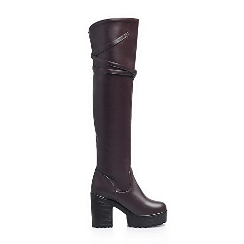 High Above Women's Material The Knee Round Toe Brown Closed Allhqfashion Heels Boots PU Soft 0qvAdWBfB