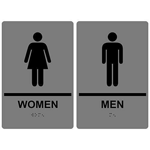 (Women Men Restroom Sign Set, ADA-Compliant Braille and Raised Letters, 9x6 in. Black on Gray Acrylic with Adhesive Mounting Strips by ComplianceSigns)