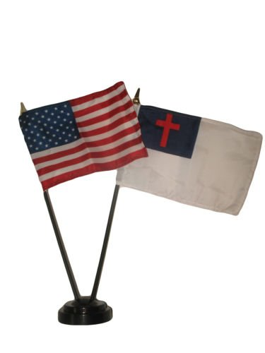 Moon Knives USA American w/Christ Christian Flag 4''x6'' Desk Set Table Stick Black Base - Party Decorations Supplies For Parades - Prime Outside, Garden, Men Cave Decor -