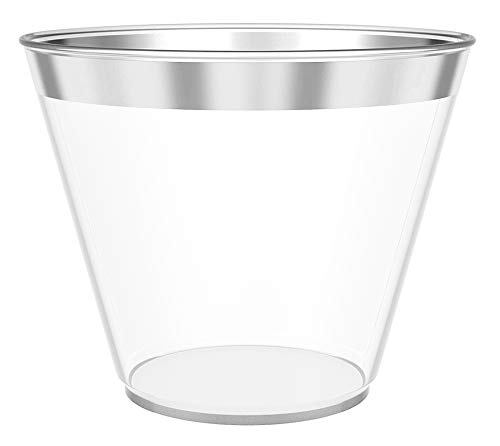 (JL Prime 100 Silver Plastic Cups, 9 Oz Heavy Duty Reusable Disposable Silver Rim Clear Plastic Cups, Old Fashioned Tumblers, Hard Plastic Drinking Cups for Party and Wedding)