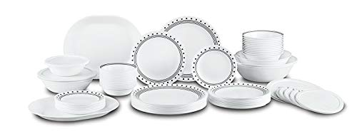 Dinnerware Set. 18/20/38/74 Piece. Dinner Dish Kit. Multi Colored Home Kitchen Everyday Dishware, Dining, Plates, Bowls. Stoneware Glass Tableware. Dishwasher, Microwave Safe (74 PC, White Black) ()