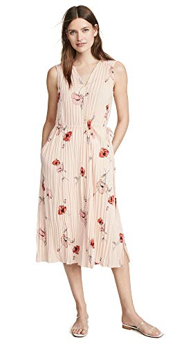 Dress Vince Pleated (Vince Women's Tossed Poppy V Neck Pleated Dress, Pale Blush, Pink, Floral, Large)