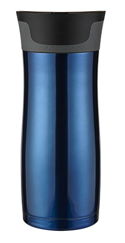 Contigo Vacuum-Insulated Stainless Steel Coffee Mug | AUTOSEAL West Loop Travel Mug, 16 oz, Stainless & Blue, 2-Pack