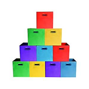 (10-Pack, Assorted Colors) Bright Colors Storage Bins with Plastic Handles, Containers, Boxes, Tote, Baskets| Collapsible Cubes Household Organization | Fresh Fabric & Cardboard,Nursery Office| Toys