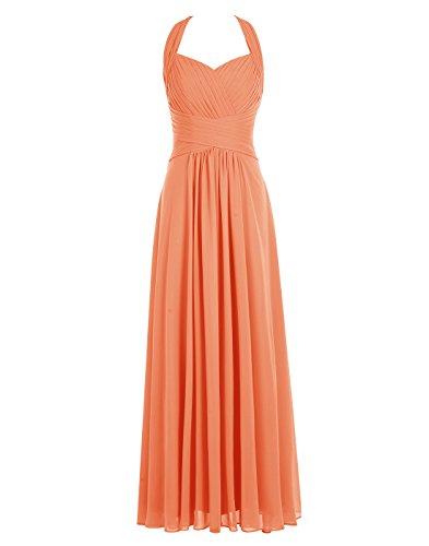 Halter Prom Dresses 2009 - ALAGIRLS Halter Chiffon Bridesmaid Dress Pleats Long Prom Gowns OrangeUS16