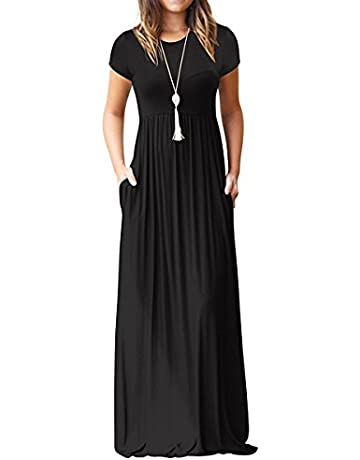 7c47e36c6c3d AUSELILY Women s Short Sleeve Round Neck Maxi Casual Long Dresses Black  Medium