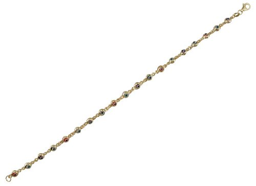 18Kt Yellow Gold Multi-Color Color Mini Eye Bracelet 7 inches