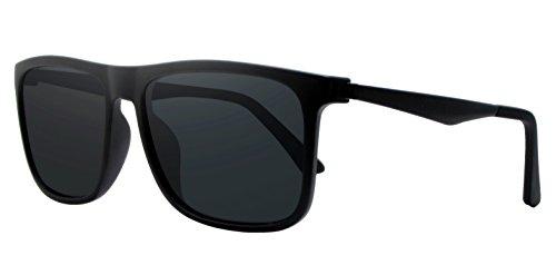 COOLSOME Men Women Classic Square Ultra Light Aluminum PC Vintage Polarized Sunglasses (Black, - Large Polarized Wayfarer