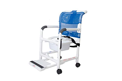 - Rolling Shower Chair with Drop Arms, Antimicrobial, Locking Casters, Seat Belt, Slide Out Footrest and Commode Pail. 300 lb. Capacity