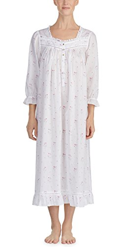 Eileen West Cotton Lawn 3/4 Sleeve Ballet Gown in Misty Rosebud (White/Gray Floral, Medium) (3/4 Sleepshirt Floral Sleeve)