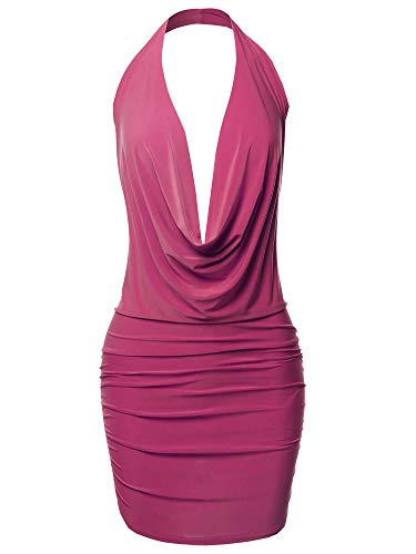 Sexy Halter Neck Ruched Bodycon Backless Party Cocktail Mini Dress Fuchsia L ()