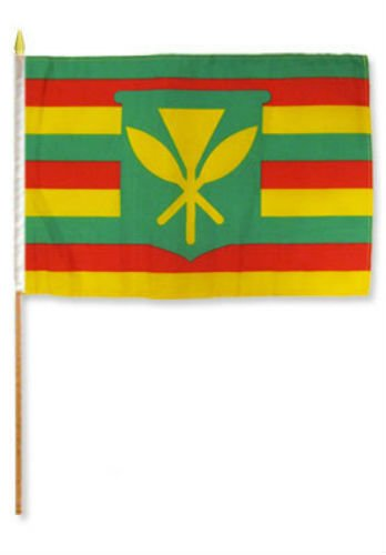 (ALBATROS 12 inch x 18 inch (6 Pack) Kanaka Maoli Stick Flag with Wood Staff for Home and Parades, Official Party, All Weather Indoors Outdoors)