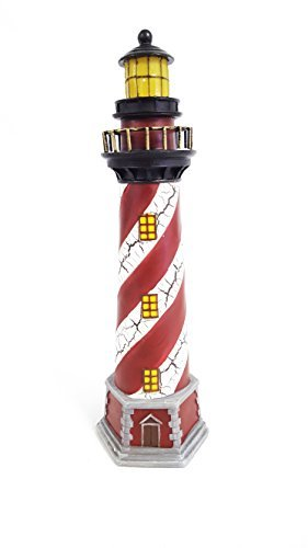 Red & White Resin Lighthouse with Light