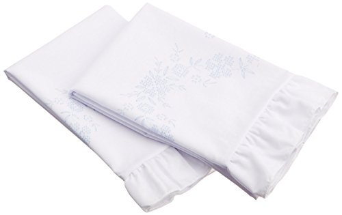 Fairway Stamped Lace Edge Pillowcase, 30 by 20-Inch, Cross Stitch Flower, 2-Pack -  82689