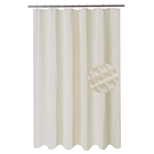 Barossa Design Extra Long Fabric Waffle Weave Shower Curtain 84 inch Height, Hotel Collection, Water Repellent, 230gsm Heavy Duty, Machine Washable, Cream Pique Pattern, 71x84