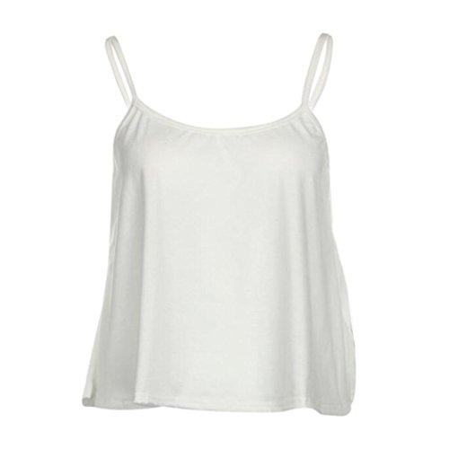 OverDose Mujeres Verano sin mangas camisa blusa casual camisetas sin mangas Blanco