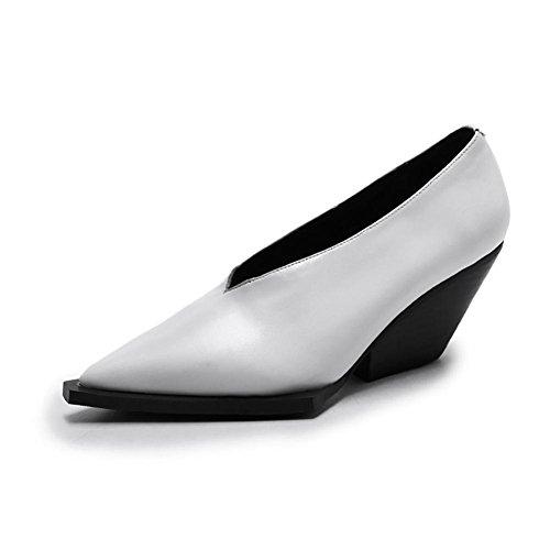 uk Cuña Mano A Soltero Zapatos White Casual Mujer Blanco Eur Trabajo Caminar Hecho Pie Dedo Nvxie eur36uk354 Puntiagudo Cuero 3 Negro Ponerse Del Zapatillas Comodidad Para 35 50g6Opw