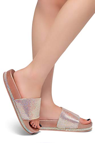 Herstyle Caterina Womens Fashion Rhinestone Platform Sliders Slip On Mules Summer Shoe Sandals Rose Gold 6.0 ()