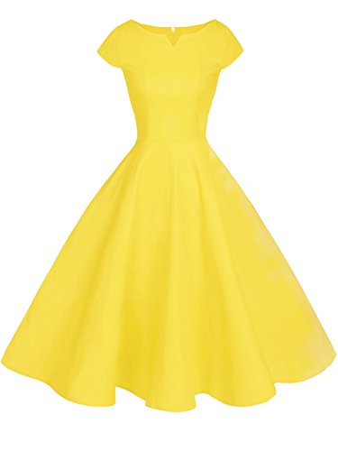 Prom DRT019 Rockabilly Cap Vintage Sleeves Yellow COUPLE FAIRY Dress CXqvPP