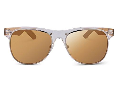 TREEHUT Wooden Bamboo Unisex Sunglasses Temples Classic Half Frame Rim Clubmaster Retro Vintage Eyewewar With Transparent Front Frame