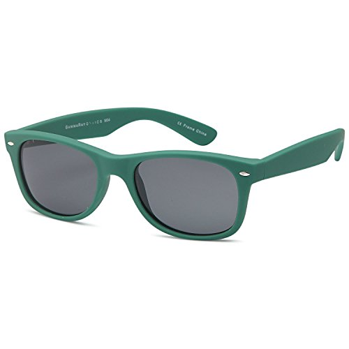 GAMMA RAY UV400 55mm Classic Adult Style Sunglasses - Gray Lens on Matte Cargo Green - 55 Wayfarer