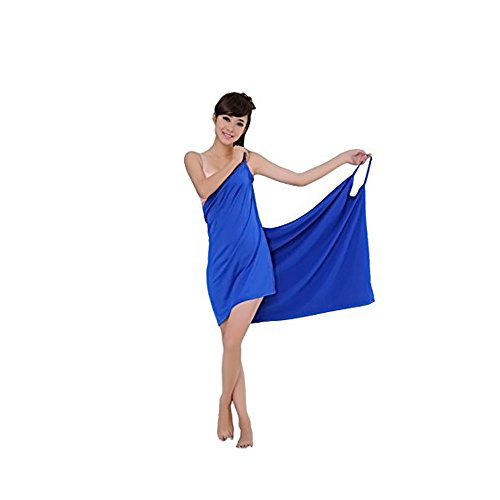 MareLight Elegant Design Sexy Women's Creative Deep V Sling Backless Bath Skirt Swimwear Cover up,Bikini Cover Jacket,5528 Inch-Blue Color-Material Microfibre-BATHROBE AND BATH TOWEL