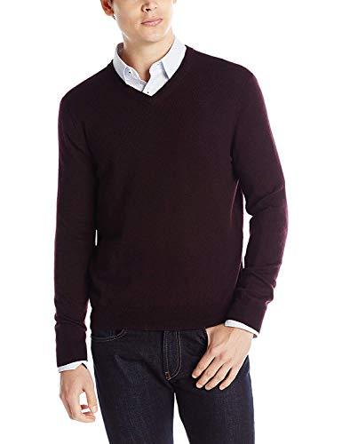 Calvin Klein Men's Merino V-Neck Sweater, Dark Chestnut, Large -