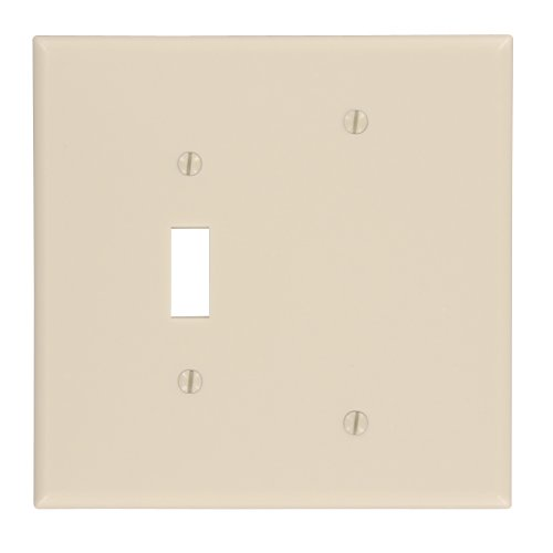 Leviton 86106 2-Gang 1-Toggle 1-Blank Device Combination Wallplate, Oversized, Thermoset, Box Mount, - Blank Toggle