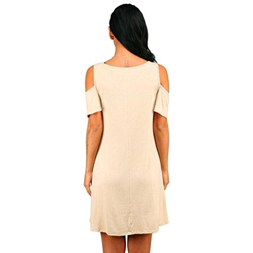 VENMO Mujer Verano Algodón Suelto Color Sólido Off Hombro Casual Mini Vestido Corto con bolsillos Begie