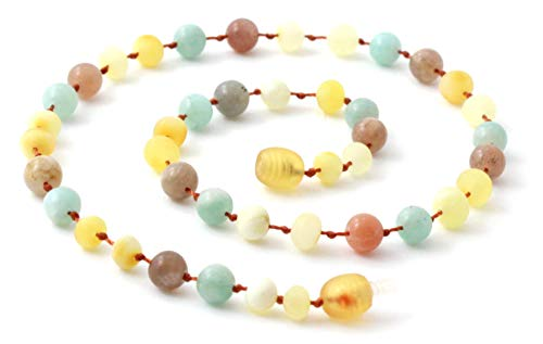 (TipTop-Eco Raw Baltic Amber Teething Necklace Made with Amazonite and Sunstone - 11 Inches Long - Unpolished Milky Butter Beads (Milky/Sunstone/Amazonite, 11 Inches))