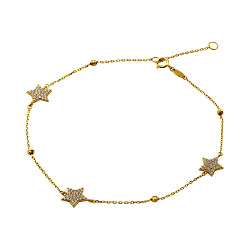 LoveBling 10K Yellow Gold .5mm Diamond Cut Beads and 3 CZ Stars Charm Anklet Adjustible 9