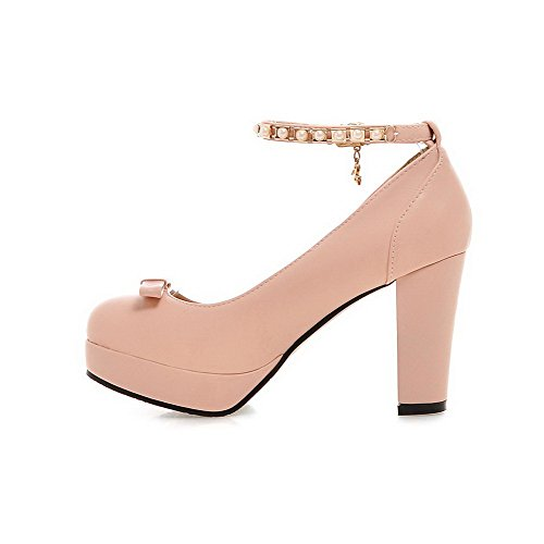 VogueZone009 Women's PU High-Heels Round Closed Toe Solid Buckle Pumps-Shoes Pink tjPru8gOI