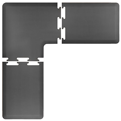 WellnessMats Anti-Fatigue 6 Feet by 2 Feet 4 Piece L Series Kitchen Mat Set,  Grey by WellnessMats