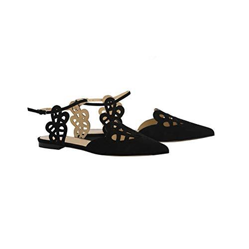 - Pointed Toe Flat Sandals Women Cuts-Out Sandals Women Blue Solid Beach Sandals Shoes,Black,8