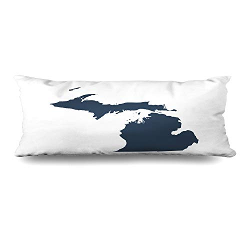 - Ahawoso Body Pillows Cover 20x60 Inches Earth Gray Outline Map Us State American Michigan Abstract America Area Beam Decorative Zippered Pillow Case Home Decor Pillowcase