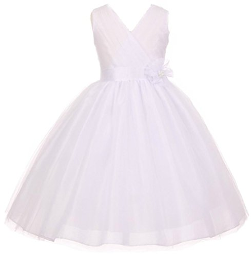 Silk Shantung Flower Girl Dresses - AkiDress Silk Shantung Top with Illusion Bottom Special Occasion Dress for Big Girl White 12