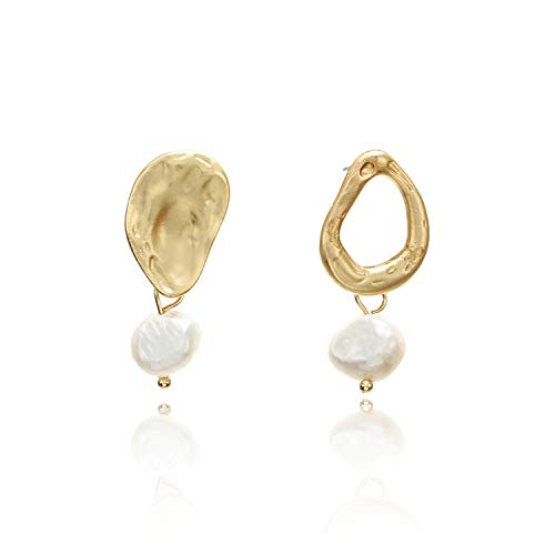 Korea Retro Metal Gold Geometric Irregular Circle Square Natural Freshwater Pearl drop Earrings for Women Party Wedding Jewelry,7 ()