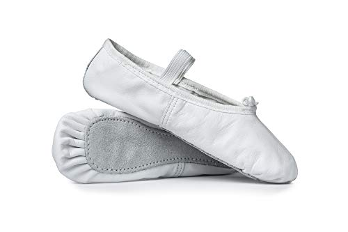 Child Economy Leather Full Sole Ballet Shoes T1000CWHT11.0M White 11 M US Little Kid ()