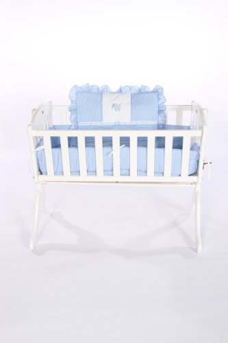 Baby Doll Bedding Gingham with Elephant Applique Cradle Bedding Set, Blue