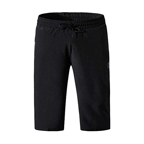 Leadmall Men's Capri Sports Shorts - Men Straight Trunks Board Quick Dry Swim Pants - Solid Color Drawstring Beach Surfing Running 3/4 Trousers
